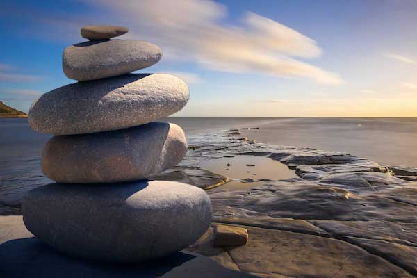 Stack of rocks overlooking the ocean.