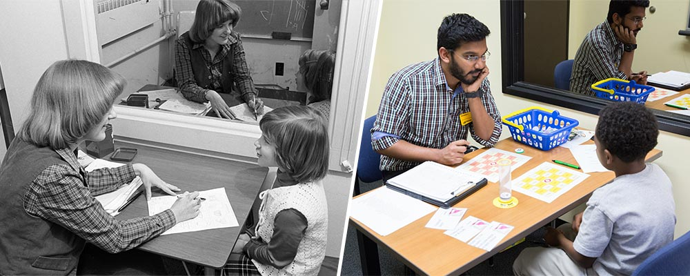 Black and white photo side-by-side with a current photo, of student clinicians doing word-retrieval task with young clients.