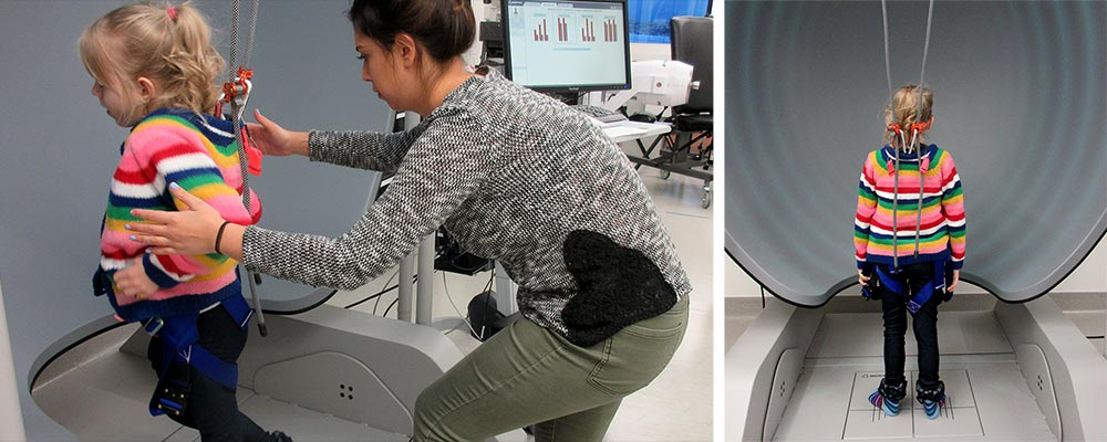 A young study participant doing balance assessment & rehabilitation in a virtual environment.