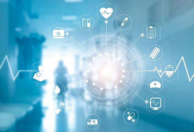 Medical icon network connection with modern virtual screen interface on hospital background.