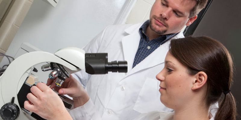Two students looking at slides using a microscope