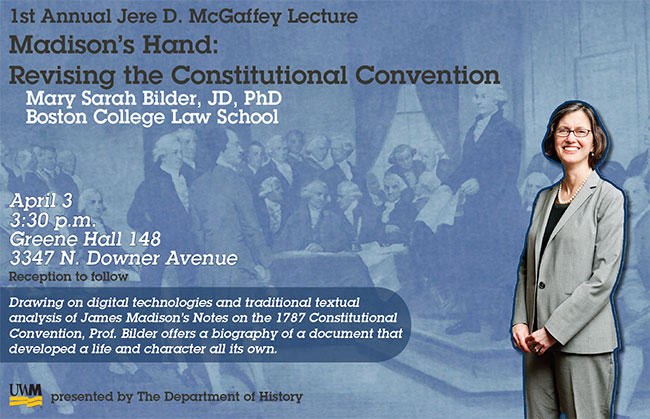 informational flyer for Mary Bilder Lecture