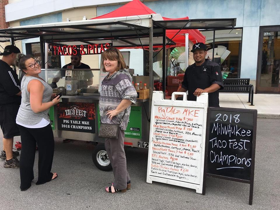 Jordan Stewart working at food cart