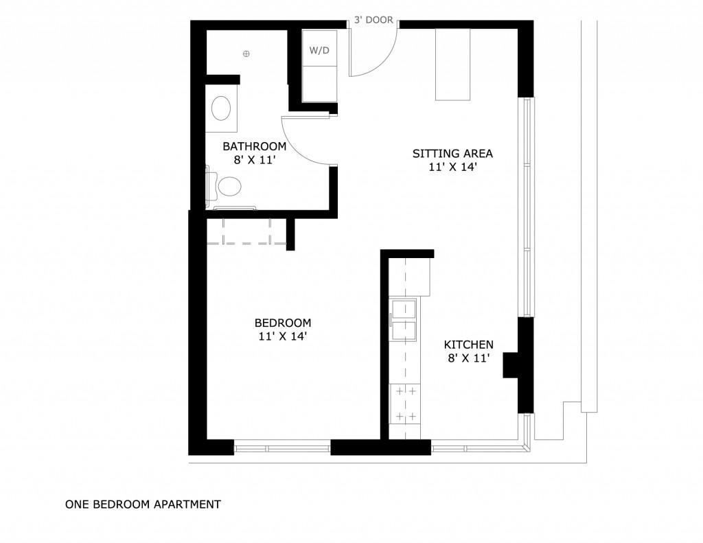 1 Bedroom  O 1. Kenilworth Square Apartments   University Housing