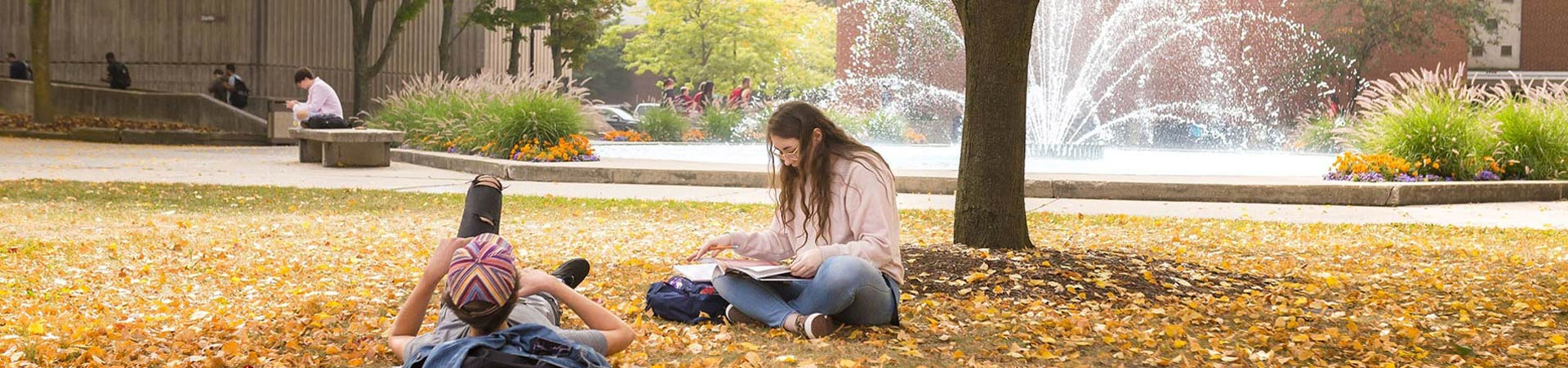 Students studying by fountain