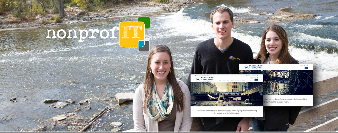Nonprof-IT Director, Adam Hudson standing by Milwaukee River with two students who re-designed the Milwaukee River Keepers website