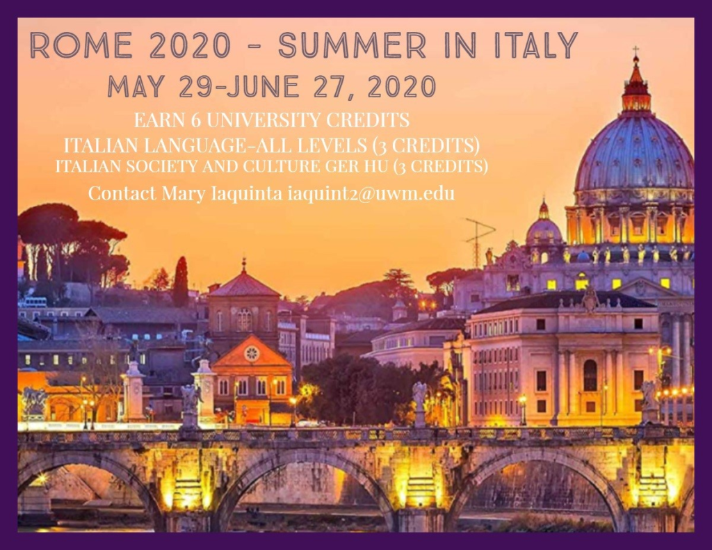 Summer in Italy, Rome June 29-May 27, 2020