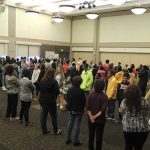 Students participating in an activity called Cross the Line