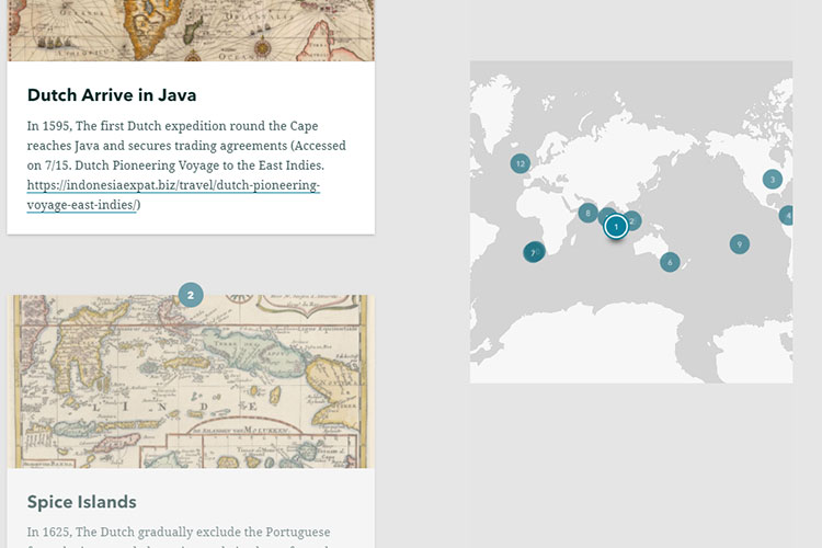 Screen capture of a world map pinpointing locations