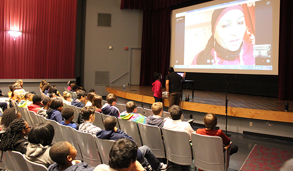 Skype presentation to students in an auditorium