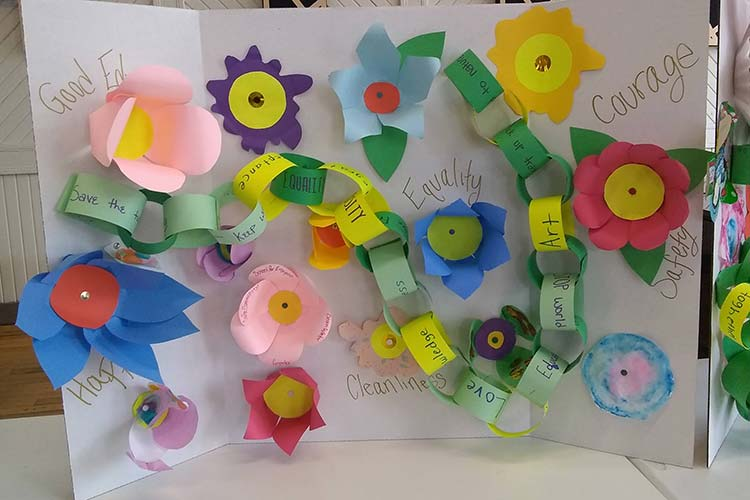 Poster with paper chain, flowers and different values written on it