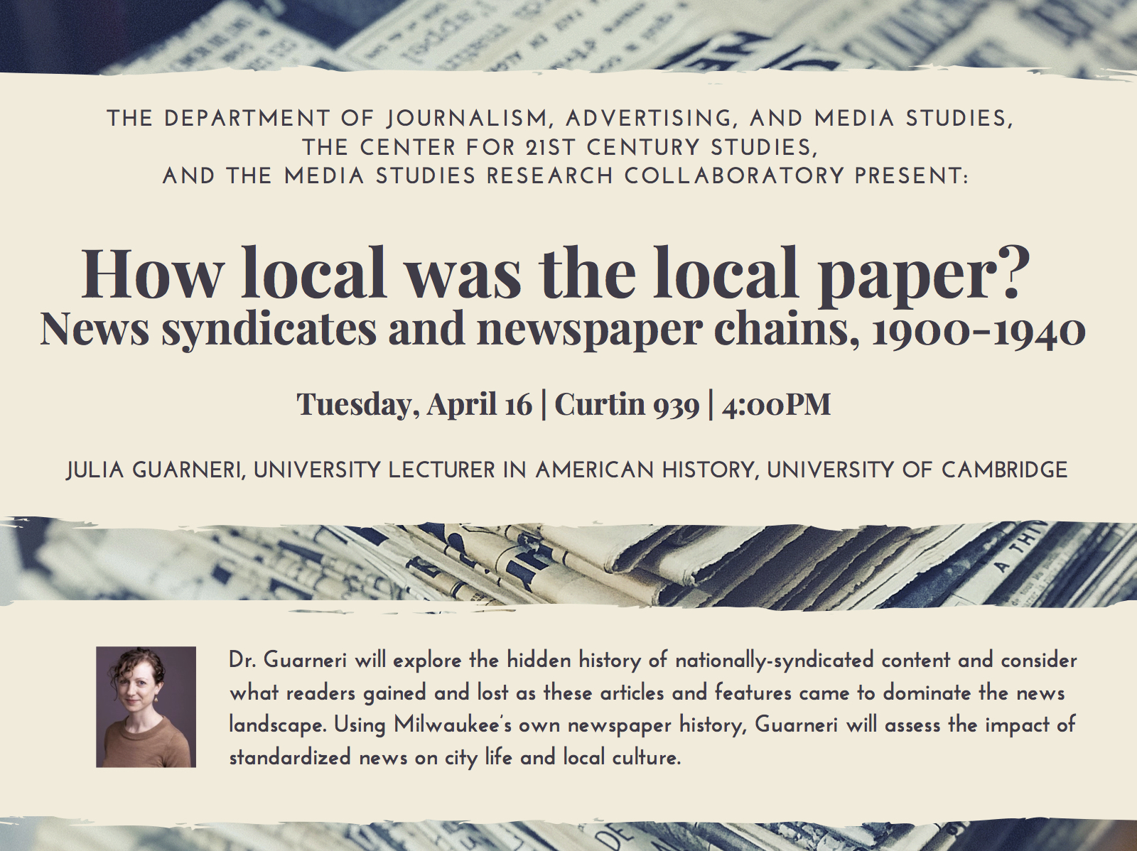 How Local Was the Local Paper? Event flyer