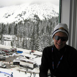 Barbara Meyer surveys the Vancouver 2010 Olympics aerial skiing venue.