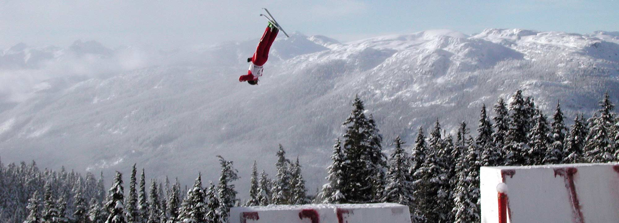 Aerial ski jumper in flight