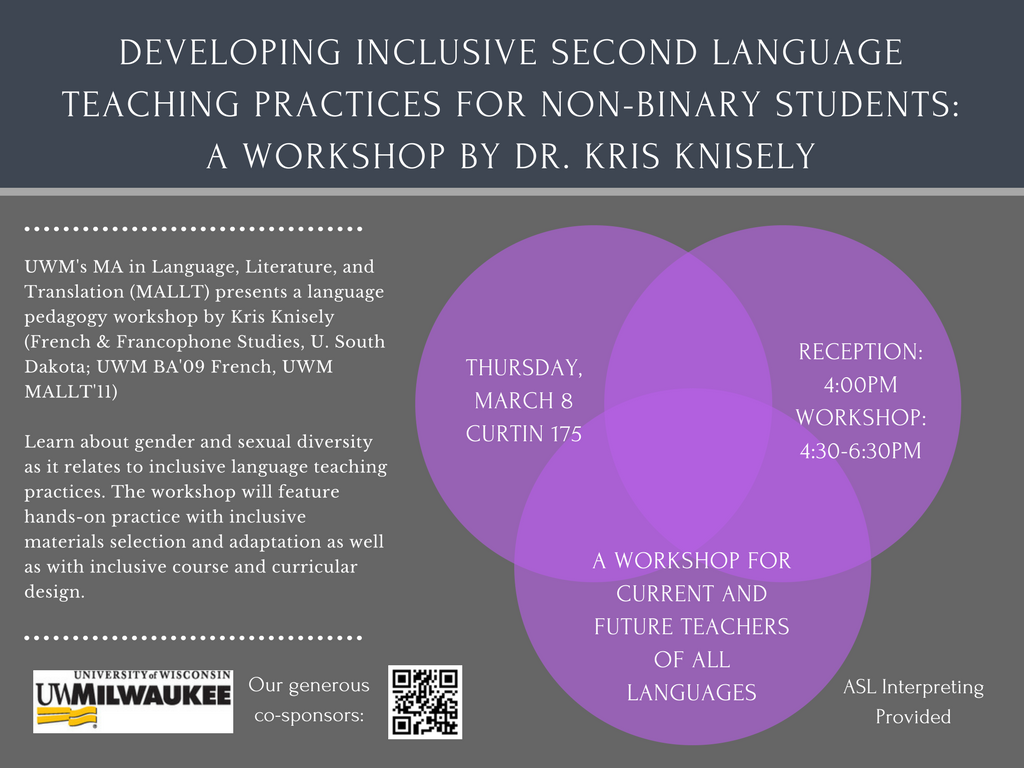 This is a flyer for the event, with a gray background and purple circles highlighting event details. The text does not include any information not already available on the website above.