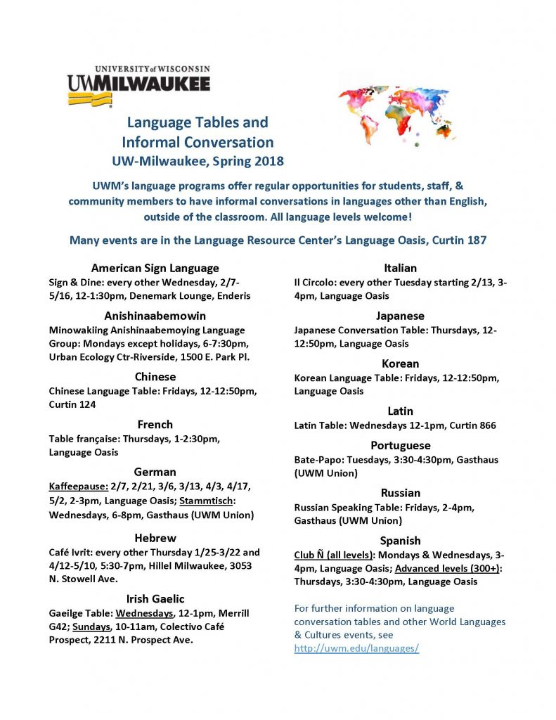 Complete schedule for UWM's Spring 2018 language tables. All events are available online at https://uwm.edu/languages/events/category/language-table/