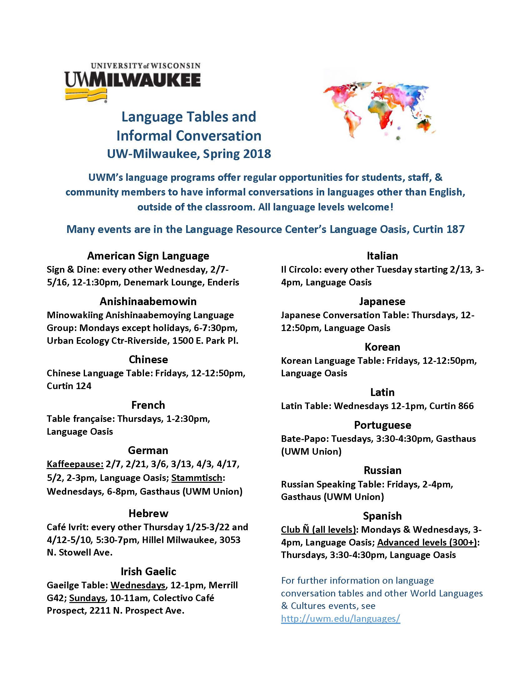 Merveilleux Complete Schedule For UWMu0027s Spring 2018 Language Tables. All Events Are  Available Online At Https