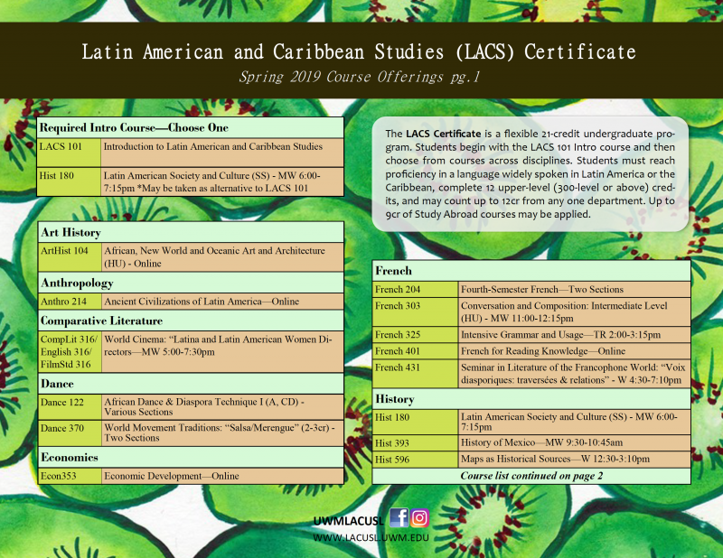 Spring 2019 LACUSL & LACS Course Offerings | Latin American