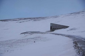 The entrance of the Svalbard Global Seed Vault juts from the ground, leading to an underground seed storage. Photo by Tracey Heatherington.