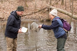 UWM Field Station biologist Gary Casper and his assistant, Beth Mittemaier.