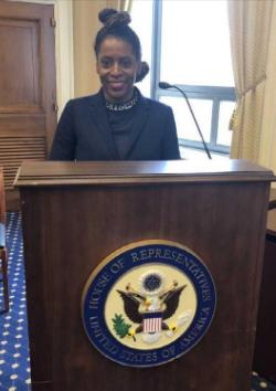 Gladys Mitchell-Walthour at podium