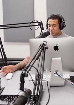 Rashaud Foster recording podcast