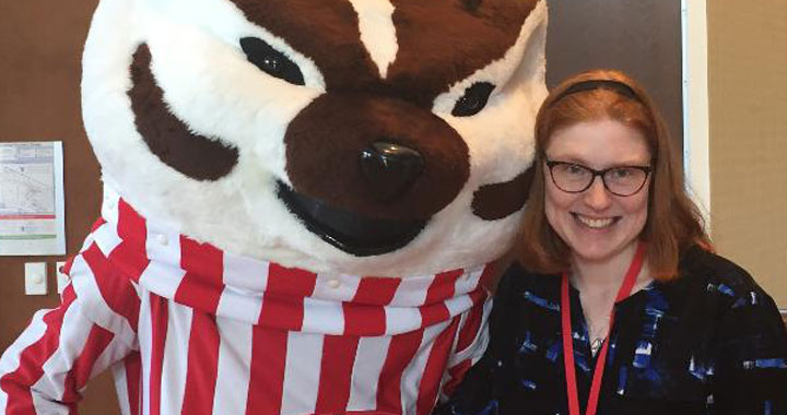 Bethany Nelson and UW-Madison mascot Bucky Badger