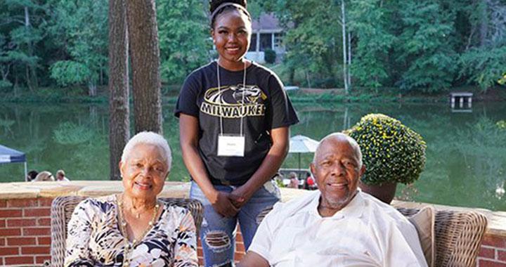 Hank Aaron, his wife, and student Hawa Brema