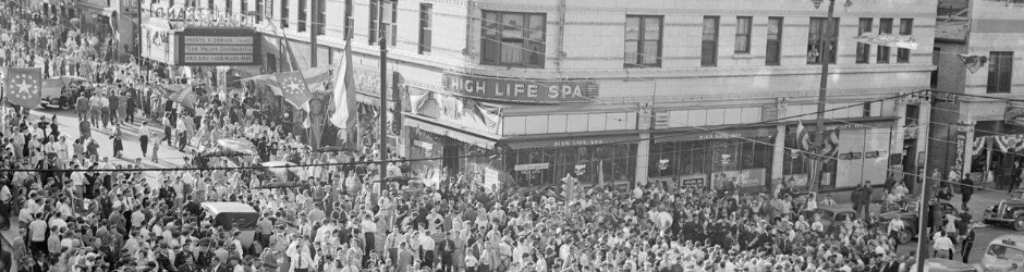West Wisconsin Avenue, V-J Day celebration downtown. Milwaukee Neighborhoods Digital Collection