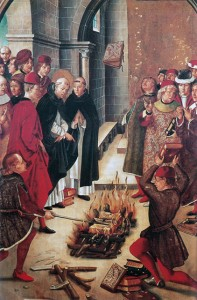 Saint Dominic and the Albigenses (1480). A painting by Pedro Berruguete depicting Dominic, founder of the Inquisition, checking books for heresy with a trial by fire.