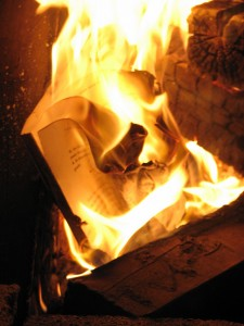 Image from Flickr (2007) of a bookseller's use of unsold merchandise for kindling.