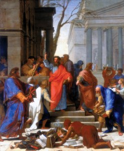 The Sermon of Saint Paul at Ephesus (1649). This painting by Eustache Le Sueur depicts Paul's conversion of Turkish sorcerers.