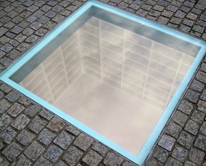 A monument of empty bookshelves in Berlin's public square, made for the 20,000 books burned by Nazis on May 10, 1933.