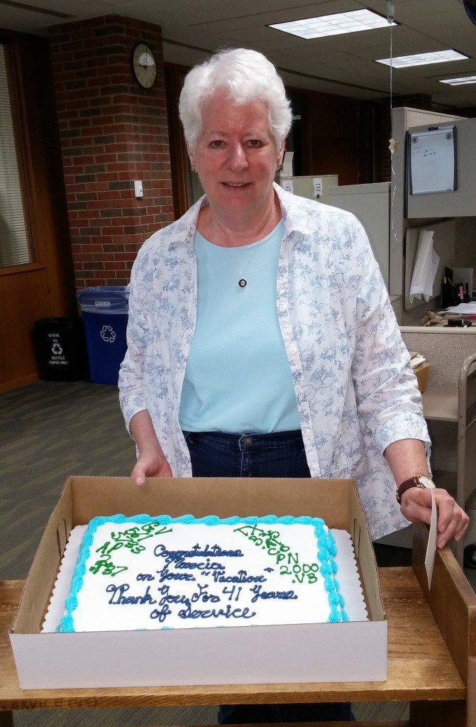 Marcia with retirement cake