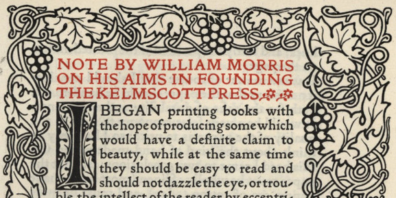 A page from A Note by William Morris on His Aims in Founding the Kelmscott Press