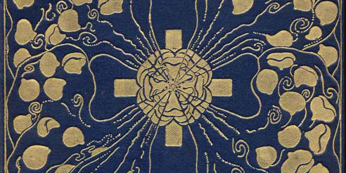 Cover of Poems by W.B. Yeats - gold cross with rose and vines on a dark blue background