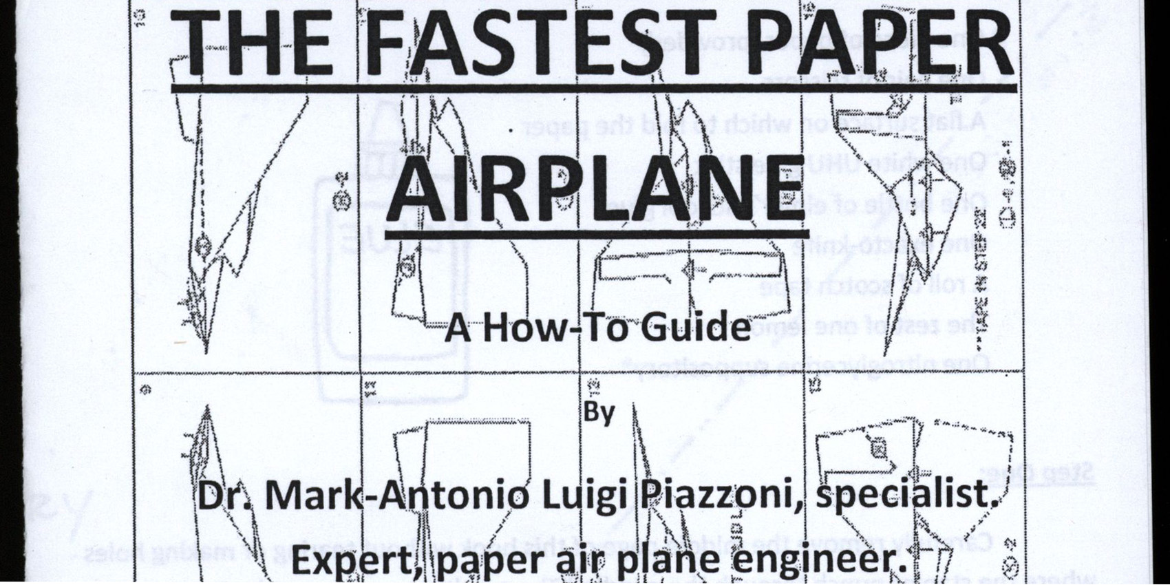 The Fastest Paper Airplane: A How-To Guide