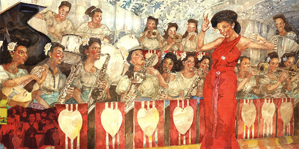Illustration from Sweethearts of Rhythm: The Story of the Greatest All-Girl Swing Band in the World, written by Marilyn Nelson and illustrated by Jerry Pinkney