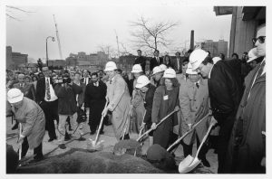 UWM Chancellor John Schroeder (at right) and others, Business Administration Building groundbreaking, 1992. Photo: Alan Magayne-Roshak.