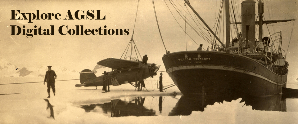 A decorative image of a plane being either loaded or unloaded onto a ship in the Arctic.  Image is linked to our digital collections.