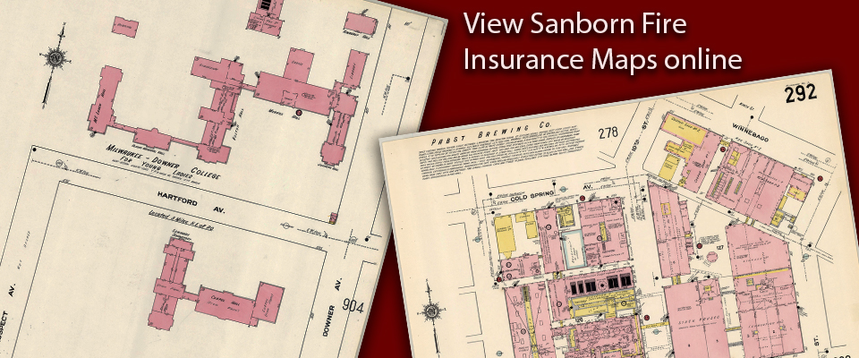 View Sanborn Insurance Maps in our digital collections.  Decorative image showing Downer College buildings and Pabst Brewery represented in the atlases.