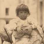 Girl with bread photo