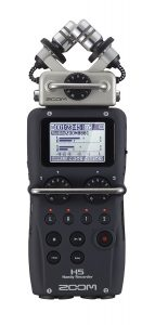 Image of Zoom H5 audio recorder with top loaded micrphones