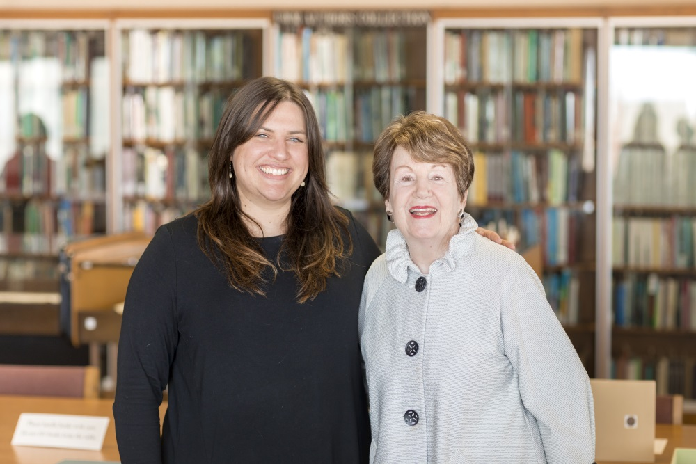 photo of Stephanie Surach (left) and Mary Emory, past president of the Friends of Golda Meir Library