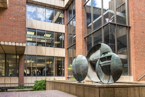 photo of disc sculpture at Golda Meir Library