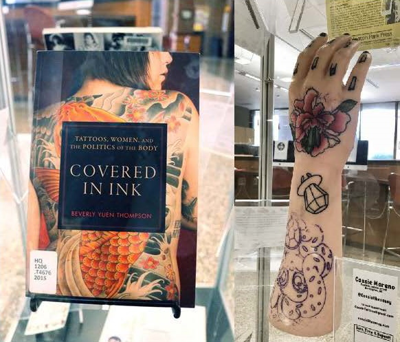 photos of book and arm model