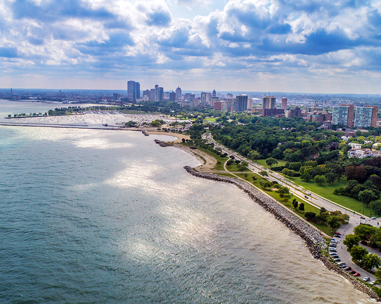 Aerial photo of lakefront and Milwaukee