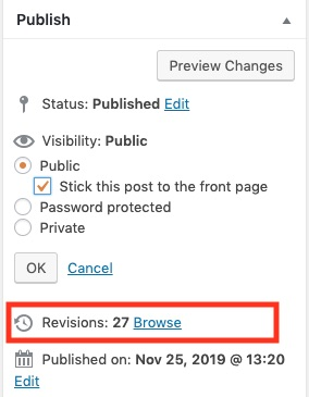 showing revisions