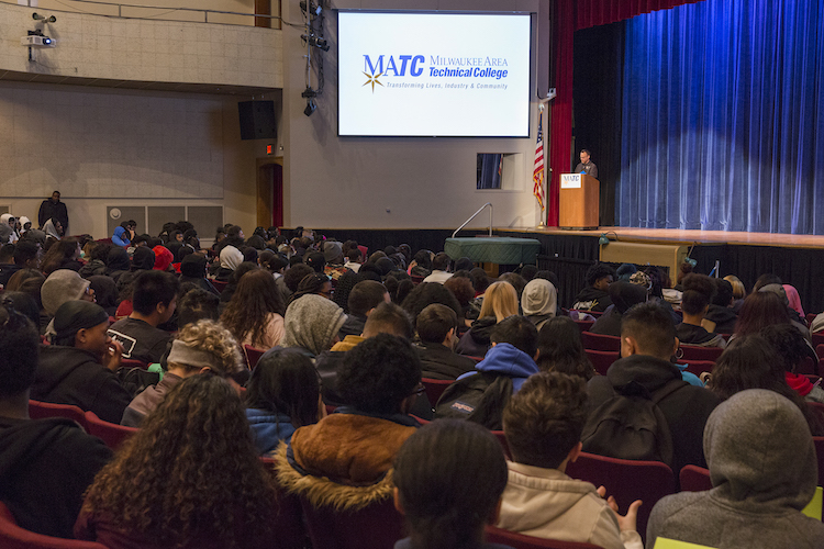 10th-graders listen to a presentation at an MATC auditorium.