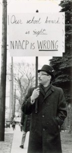 Anti-desegregation demonstrator. Courtesy Wisconsin Historical Society
